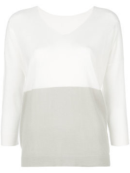 Le Tricot Perugia contrast fitted top - White