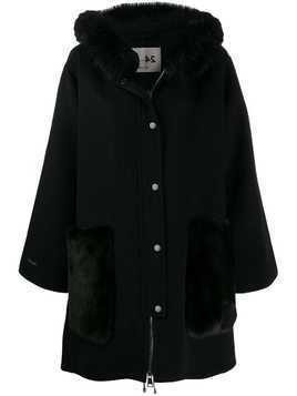 Manzoni 24 textured hooded coat - Black