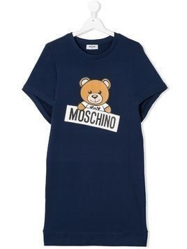 Moschino Kids TEEN Teddy logo print sweatshirt dress - Blue