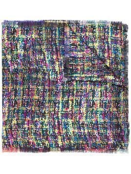 Etro bouclé tweed print scarf - Blue