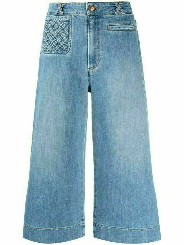 See by Chloé lattice-pocket wide-leg cropped jeans - Blue