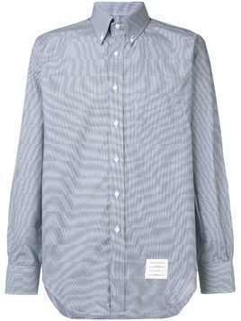 Thom Browne Classic Long Sleeve Poplin Shirt In Small Gingham Check - Blue