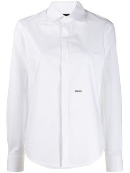 Dsquared2 logo plaque long-sleeve shirt - White