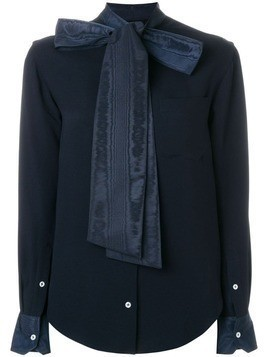 Thom Browne Silk Georgette Necktie Blouse - Blue