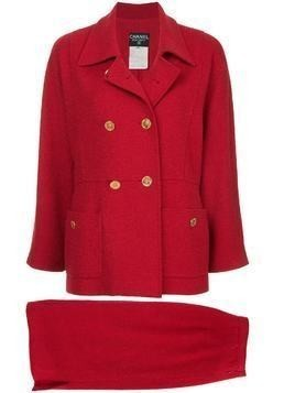Chanel Pre-Owned double breasted skirt suit - Red