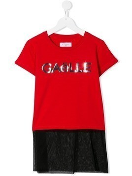 Gaelle Paris Kids TEEN mesh panel T-shirt - Red