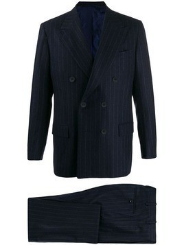 Kiton double breasted stripe suit - Blue