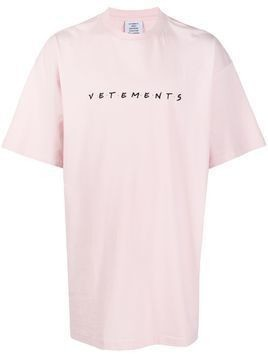 Vetements Friendly logo-embroidered cotton T-shirt - PINK