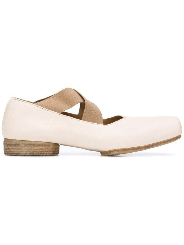 Uma Wang crossover strap ballerina shoes - Neutrals