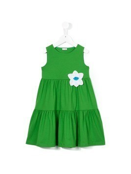 Il Gufo flower applique dress - Green