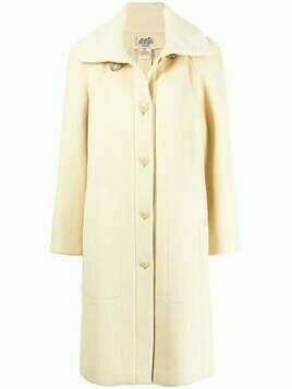 Hermès pre-owned single-breasted long coat - Neutrals