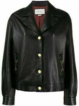Gucci Horsebit buttoned leather jacket - Black