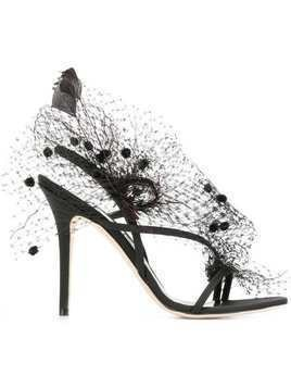 Andrea Mondin Anne veil and feathers sandals - Black