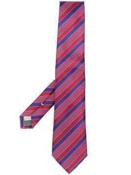 Canali striped pointed-tip tie - Red