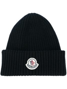 Moncler ribbed beanie hat - Blue
