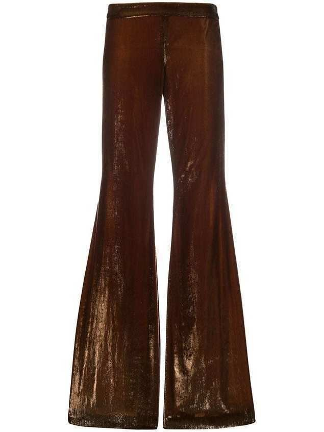 Françoise flared style textured trousers - Brown