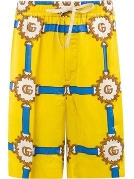 Gucci GG logo print shorts - Yellow