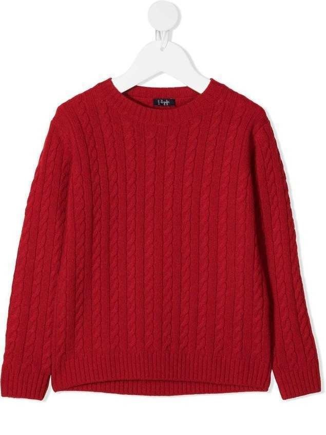 Il Gufo cable knit round neck jumper - Red