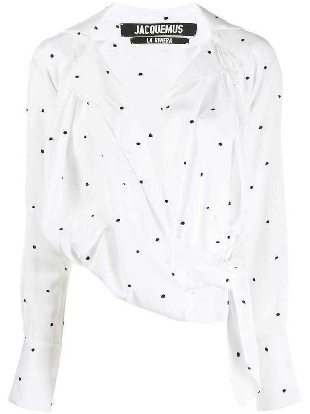 Jacquemus embroidered dot blouse - White