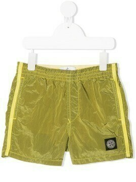 Stone Island Junior logo patch shorts - Green
