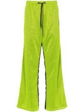 Duo mesh popper button nylon sweat pants - Green