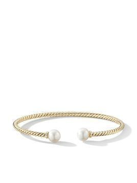David Yurman 18kt yellow gold 7mm Solari pearl cuff - SILVER