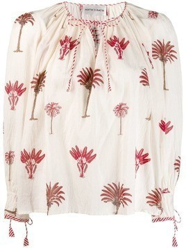 Antik Batik palm printed blouse - White