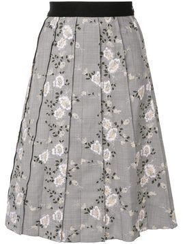 Giambattista Valli pleated floral skirt - Grey