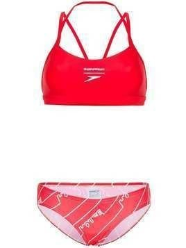 House of Holland logo print bikini - Red