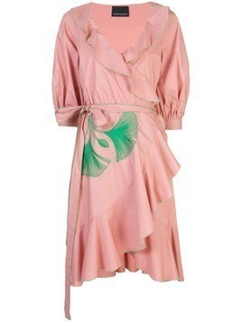 Cynthia Rowley Cleo Embroidered Wrap Dress - Pink