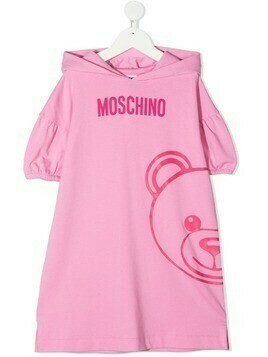 Moschino Kids logo-print hooded dress - PINK