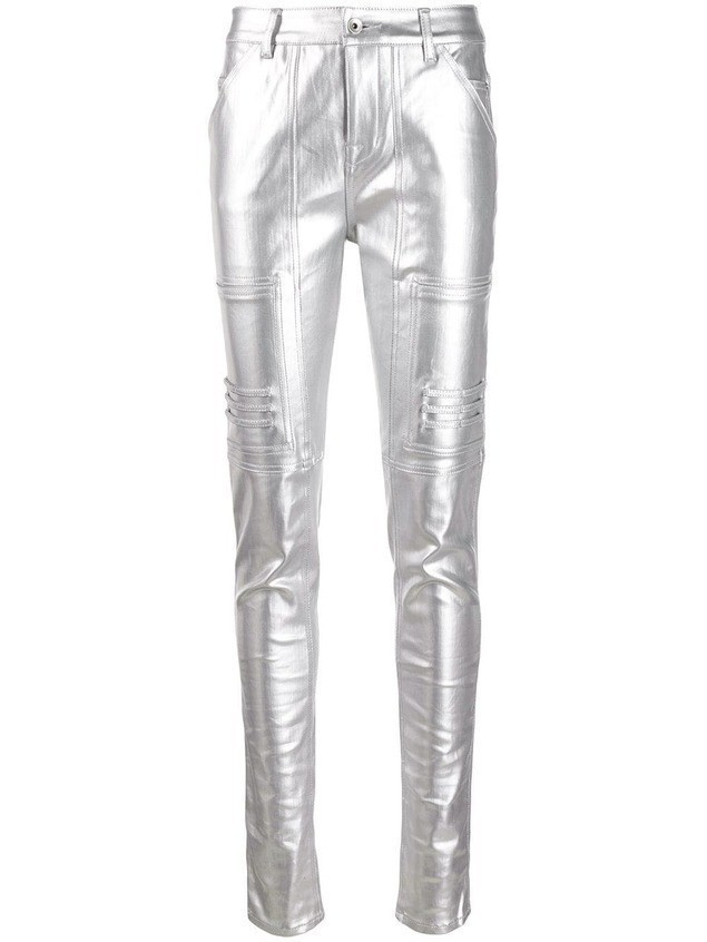 Rick Owens DRKSHDW polished effect skinny trousers - Metallic