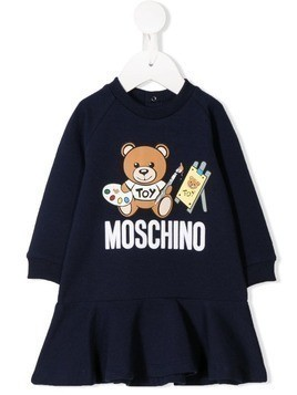 Moschino Kids logo teddy print dress - Blue