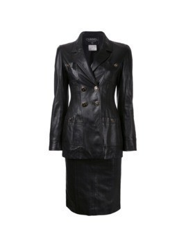 Chanel Vintage CC button setup jacket skirt suit - Black