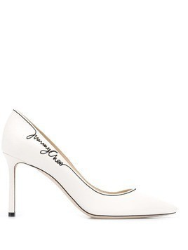 Jimmy Choo 85 romy embroidered signature pumps - White