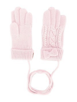 Miki House cable knit gloves - Pink