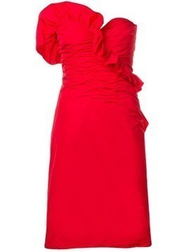 Alexa Chung ruched strapless dress - Red