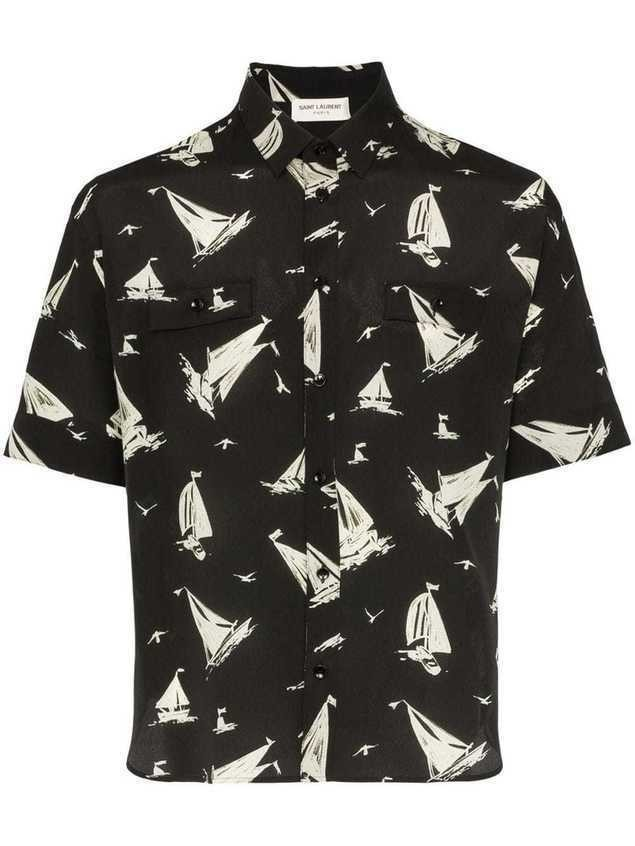 Saint Laurent boat print silk shirt - Black