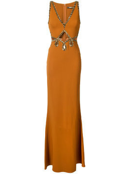 Roberto Cavalli bead embellished gown - Brown