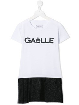 Gaelle Paris Kids TEEN long brand T-shirt - White