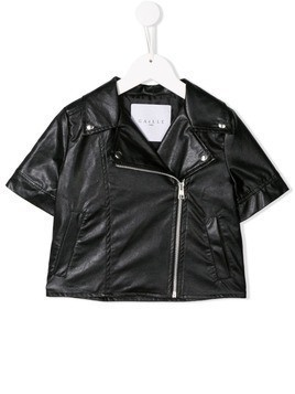Gaelle Paris Kids short-sleeved biker jacket - Black