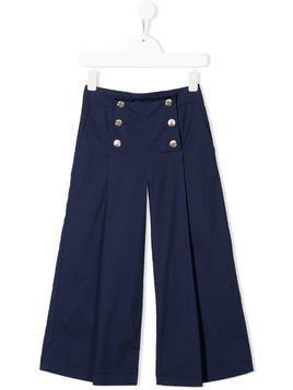 Monnalisa embossed button trousers - Blue