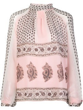 Giambattista Valli printed high neck blouse - Pink & Purple