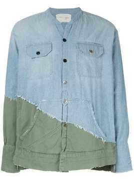 Greg Lauren distressed-style hybrid shirt - Blue