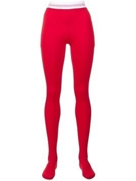 Marine Serre logo waistband tights - Red