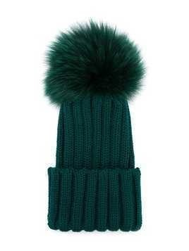 Catya Kids pompom knitted hat - Green