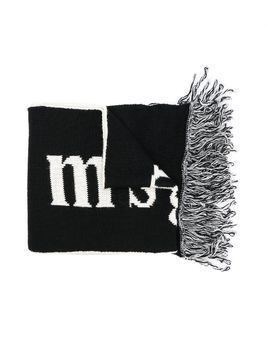 Msgm Kids logo knitted scarf - Black