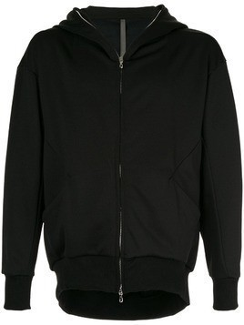 Attachment zip front hoodie - Black