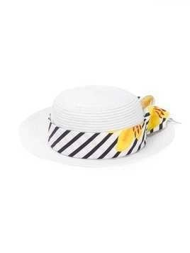 Lapin House striped band sun hat - White
