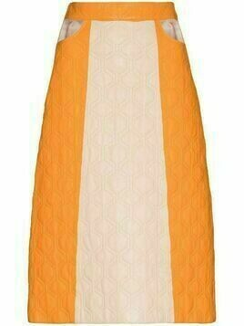 Dodo Bar Or Teri two-tone quilted midi skirt - Orange